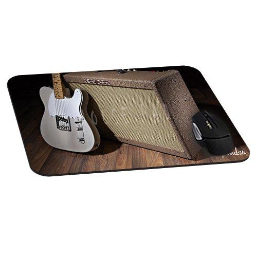 Büro Rechteck Maus Pad mit Weiß Fender Gitarre Bild Tuch, rutschfestem Gummi backing-gaming Mousepad (22,1x 18x 0,3cm) (Fender Bilder)