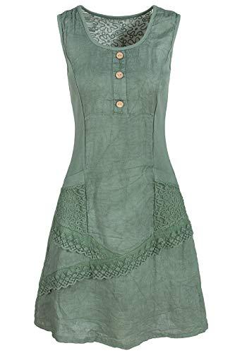 Italienische Mode GS-Fashion Leinenkleid Damen Sommer mit Spitze am Rücken KLeid ärmellos knielang Khakigrün 42 (Herstellergröße XXL) -