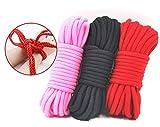 Van-guard Cinghia di corda Bondage, in cotone, intrecciato lungo e morbido da 10 m (3 pezzi), Multicolori