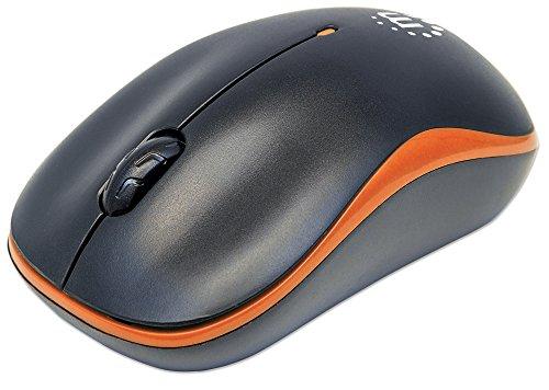 Manhattan 179409 Success Wireless Maus (USB - optisch - drei Tasten plus Mausrad - 1000 dpi) schwarz/orange -