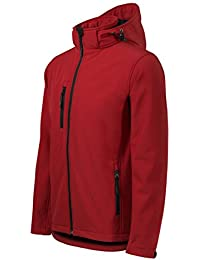 Chaqueta Softshell para Hombre con Capucha desmontable - Altamente resistente al agua (rojo – Talla: M)