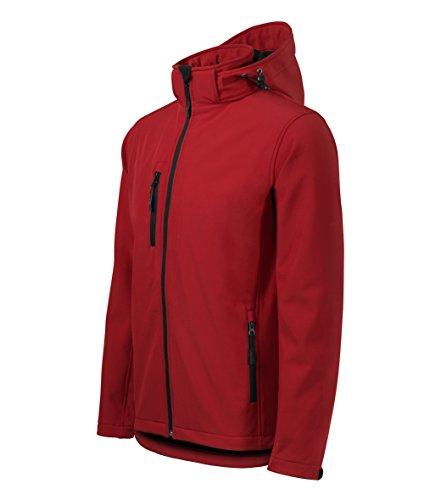 Giacca Softshell con cappuccio per uomo - Altamente resistente all'acqua - OwnDesigner by Adler Abbigliamento sportivoa (rosso - taglia: XL)
