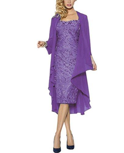 Rachel Weisz Lace grosse groessen Brautmutterkleider mit Jacke fuer Hochzeitskleider Festliche Kleider Gr 34 Lavender (Lavender Lace Kleid)
