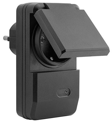 mumbi 1100 Watt Outdoor Funksteckdose Erweiterung 4-Kanal Funkschalter Set der Serie AFS202 - Plug & Play 1 Aussen-Funkschalter schwarz