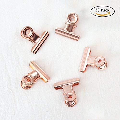 Kleine Bulldogge Büroklammern, Coideal 30 Pack 1 Zoll Metall Binder Clips Datei Papiergeld Klemmen für Tags Taschen, Geschäfte, Büro und Küche zu Hause (Rose Gold, 22mm)