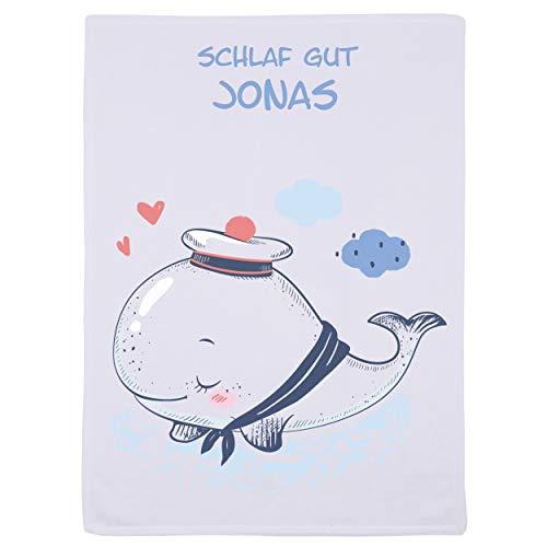 Wolimbo Flausch Babydecke mit Namen und kleiner WAL Motiv - personalisierte/individuelle Geschenke für Babys und Kinder zur Geburt, Taufe und Geburtstag - 75x100 cm