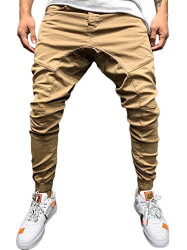 Tomwell Herren Hose Jogger Chino Jeans Freizeithose Streetwear Slim Fit Jogginghose Stoffhose Khaki DE 42 -