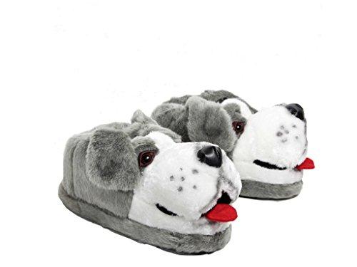 Sleeper'z Pantofole Animali Cane da Pastore - Adulto e Bambino Grigio