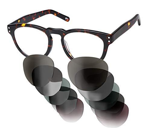 Sym Sonnenbrille mit wählbarer Sehstärke von -4.00 (kurzsichtig) bis +4.00 (weitsichtig) und auswechselbaren Gläser in 6 Farben, für Damen & Herren (Unisex), Modell 05