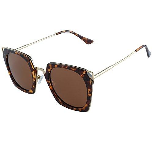 DUCO polarisierte Square Damen Sonnenbrille Cateye umrandete Mode geometrische W001 (Tortoise)