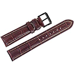 18mm Brown Luxury Italian Leather Watch Straps/Bands Replacement Grosgrain with White Contrast Stitching