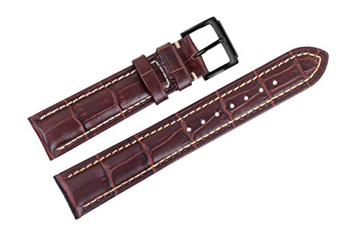 18mm-brown-luxury-italian-leather-watch-straps-bands-replacement-grosgrain-with-white-contrast-stitc