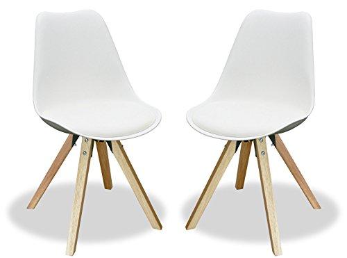 KMH®, Angie Lot de 2 chaises design (blanc), pieds en chêne massif (#800055)