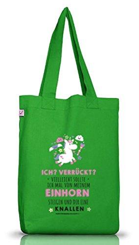 Unicorn Jutebeutel Stoffbeutel Earth Positive mit Vom Einhorn steigen Motiv Kelly Green