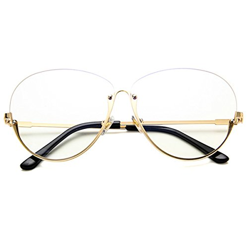 LAHAUTE Retro Mode Unisex Transparente Brille Brillenfassung Metallgestell Große Flache Gläser Brille Halbrahmen Gläser Rahmen Gold Großen Rahmen Gläser