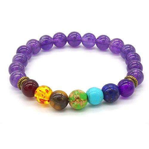 Steine Armband Und Kristalle (Amethyst Stein Armband 7 Stein Chakra Kristall-Schmuck Runden Perlen Armband - Unisex)