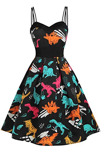 Hotelvs Damen 1950er Vintage Retro Cocktailkleider Ärmellos Abendkleid Rockabilly Kleid