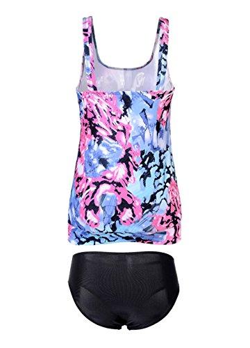 OUO Damen Tankini Push Up mit Slip Badeanzug Figurformend Bademode Bauchweg Purple