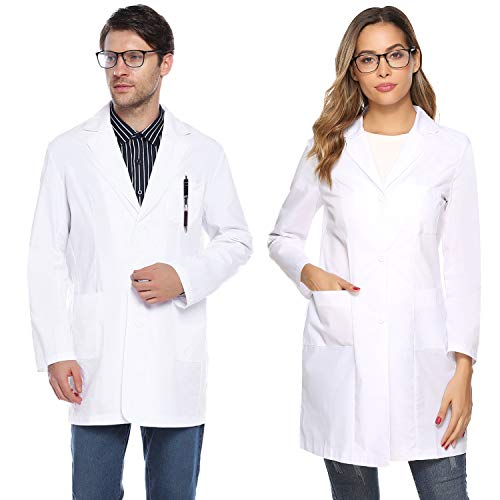 Aibrou Herren Laborkittel Berufsmantel Arztkittel Ärztemantel mit Taschen XL