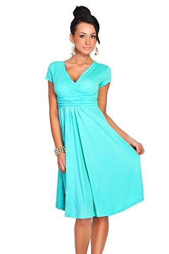 Futuro Fashion Femmes Elegant à manches courtes col V Genou Longueur Robe Viscose Avec Coton 8416 Bleu - Aqua
