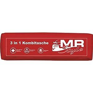 MR-Style 3in1 KFZ Verbandskasten Kombitasche – Trio mit Warnweste, Erste Hilfe Set und Warndreieck (Schwarz)