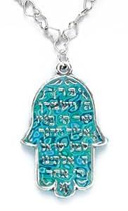 Collier Pendentif Hamsa Chema Israel - Bijoux fait main en Argent fin 925 et Pate Fimo Bleue Lagon, Chaine 42cm