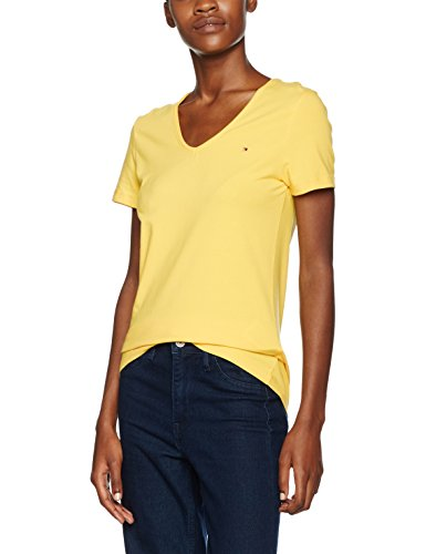 Tommy Hilfiger Lizzy V-Nk Top Ss - Blouse - Femme Jaune (FREESIA 738)