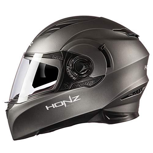 Casco integrale moto scooter casco modulare per moto casco del motociclo casco auto sportivo anti-riflesso moda cool motorino touring del casco per harley con integrale doppia visiera,mattegray-xl