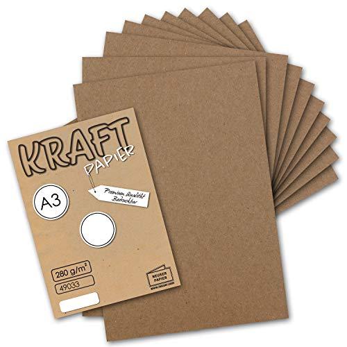 50x Vintage Kraftpapier DIN A3 280 g/m² Natur-braunes Recycling-Papier, 100% ökologisch Bastel-Karton Einzel-Karte I Umwelt by Gustav NEUSER® (Karton-recycling)