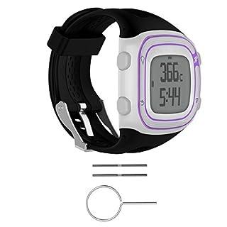 Bluelover Bracelet De Bracelet en Silicone + Outils pour Garmin Forerunner 10/15 Montre en Cours D'Exécution GPS - L - Noir