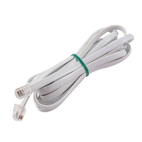 6P6C RJ11 Telefon Verlängerungskabel Fax Modem Kabel Linie 3m Länge weiß DE