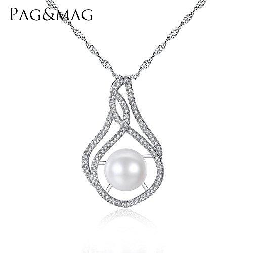 Haixin Collier S925 argent Sterling avec zircon 10-15mm petit pain cuit à la vapeur perles s925 collier en argent pur chaîne longueur 42 cm + 3 cm
