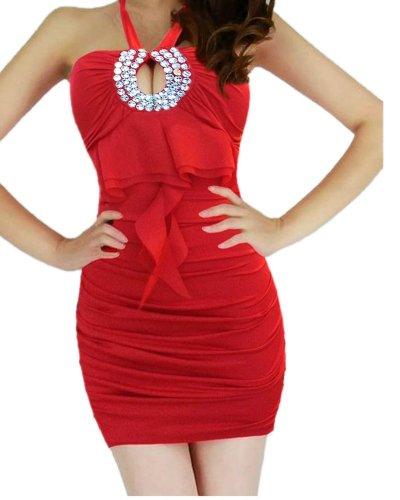 QIYUN.Z Licou Sans Bretelles De Bling Des Femmes Decoupe Robe De Club Poitrine Extensible Ouverte Rouge