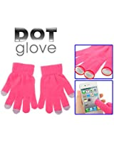 TouchSmart Screen Warm Gloves / Dot Gloves For Touch Screen for Apple iPhone 4 & 4S , iPad, iPod Touch, Blackberry, Samsung, HTC And Other Smartphones, PDA's & Sat navs (Pink) One Size