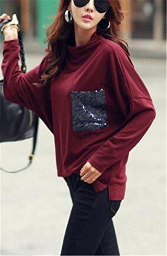 AILIENT Donna Maglietta Manica Lunga Girocollo Allentato Casuale Camicetta Elegante T-Shirt Tops Moda Red