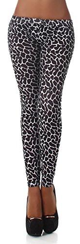 Leopard-print-hose (Q.A. Damen Leggings lang in verschiedenen Designvarianten, schwarz Flecken Größe 38-42)