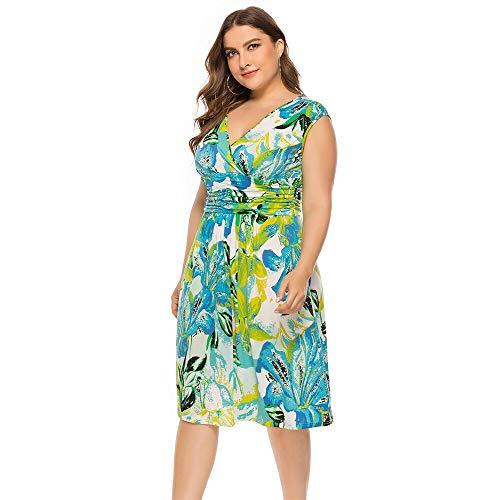 Druck-knie-länge-kleid (QUNLIANYI Kleid Spitze Plus Größe Sommer Druck Urlaub Kleid Frauen Floral Gedruckt Knie-Länge Kleid Strand Urlaub Grüne Kleider 6XL XL Blau)