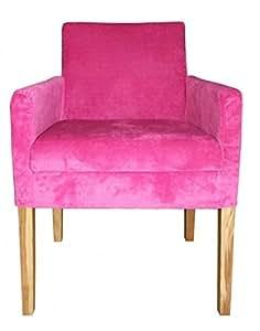 Casa Padrino Chaise de salle à manger Rose/colorée en bois avec accoudoirs