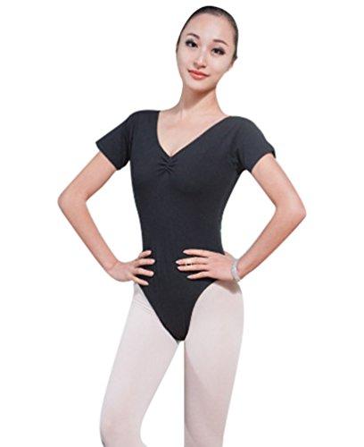 ZKOO Ballett Trikot Kurzarm Gymnastikanzug Ballettanzug Turnanzug Bodysuit Ballettbody Tanz Schwarz S (Damen-tanz-trikot Pink)