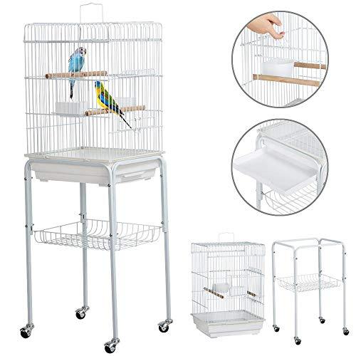 Yaheetech Vogelkäfig Käfig für Wellensittiche Kanarien- Vogelhaus mit abnehmbare Ständer, Vogelvorliere 2 Sitzstangen