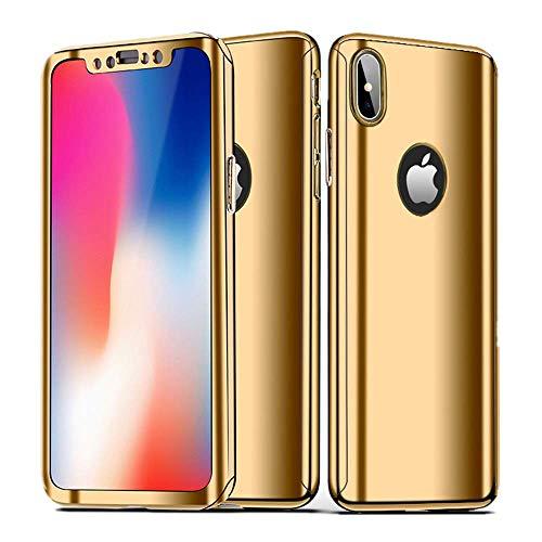 Jeack Kompatibel mit iPhone XS Max Hülle,iPhone XS Max Hüllen 3 in 1 Ultra Dünner PC Harte Case 360 Grad Ganzkörper Spiegel Schutzhülle für iPhone X (iPhone X, Gold) (I Phone Bikini-fall)