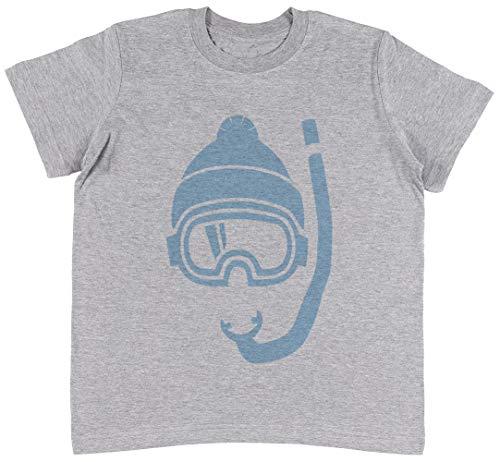 Snowboard 134cm (Schnorchel Tief Pulver Schnee Grau T-Shirt Jungen Mädchen Größe M | Unisex Kids Grey T-Shirt Size M)