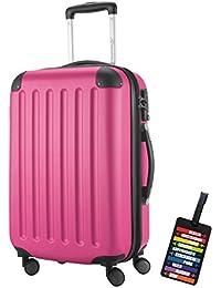 Hauptstadtkoffer® Bagaglio a mano (49 litri) con un lucchetto TSA Seria SPREE (Colore Rosa con 1 ciondolo per la valigia)