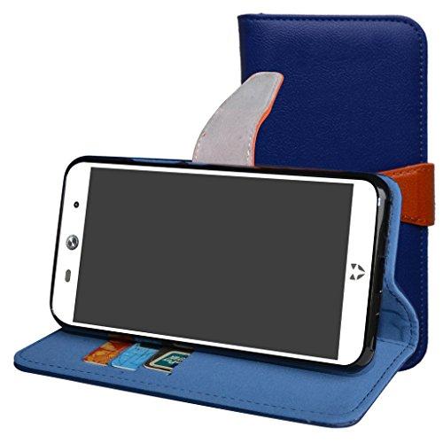 WileyFox Swift 2 / Swift 2 Plus Hülle,Mama Mouth Brieftasche Schutzhülle Case Hülle mit Kartenfächer und Standfunktion für WileyFox Swift 2 / Swift 2 Plus Smartphone,Deep blue