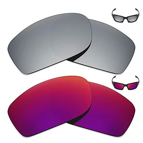 MRY 2Paar Polarisierte Ersatz Linsen für Oakley Fives Squared Sonnenbrille-Reichhaltige Option Farben, Silver Titanium & Midnight Sun