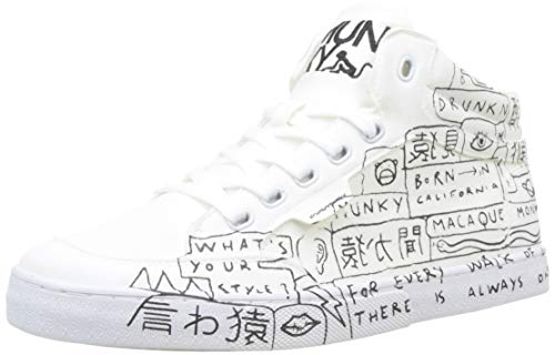 DrunknMunky Boston Sneaker a Collo Alto Uomo, Bianco (White/Black 024) 41 EU