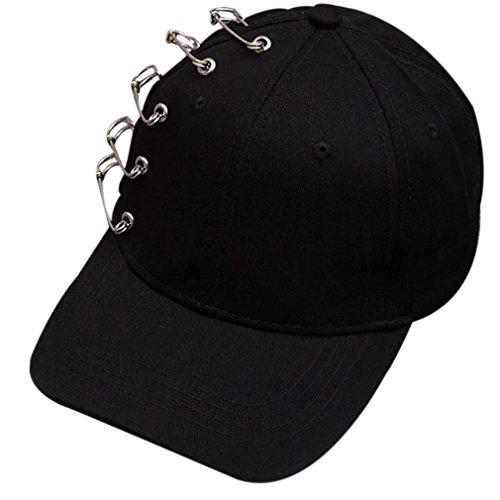 Belsen Damen Stift Ring Reifen Vintage Baseball Cap Trucker Hat (Five pins schwarz)