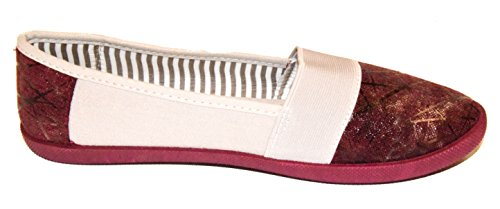 TMY 603-5 Damen Espadrille/Ballerina halbschuhe, Farbe Rot Gr.: 36-41 Rot