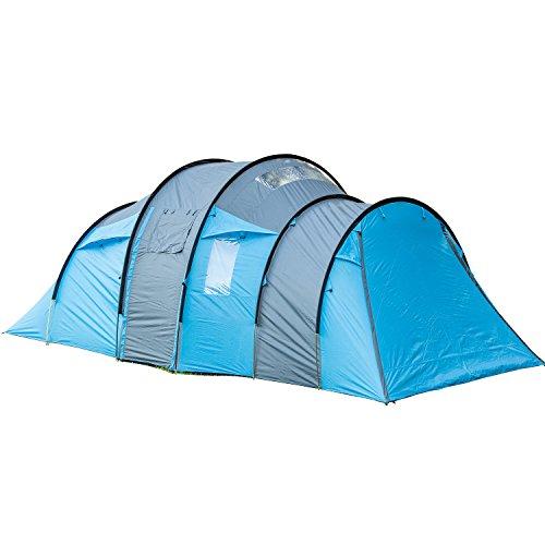 skandika skoppum 6 - Tente Tunnel familiale - 6 Personnes - 550x280 cm -Bleu/Gris