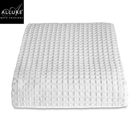 Double Bed Blanket - Allure Hotel Collection Luxury Waffle Bedspread / Blanket Double / King Size Bed Super Soft Combed Cotton Blanket Throw (Large 225 x 250 cm, White)